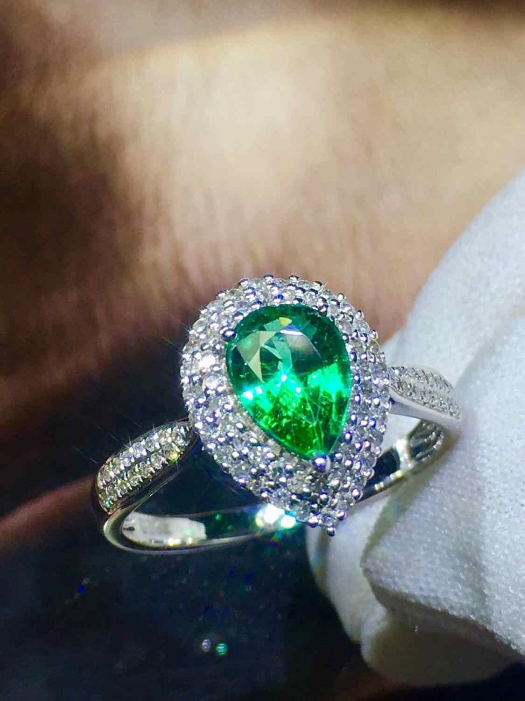 เครื่องประดับ Fine บริสุทธิ์จริง 18K Gold GreenL Emerald 0.91ct อัญมณีเพชรอัญมณีหญิงแหวนสำหรับผู้หญิงแหวน