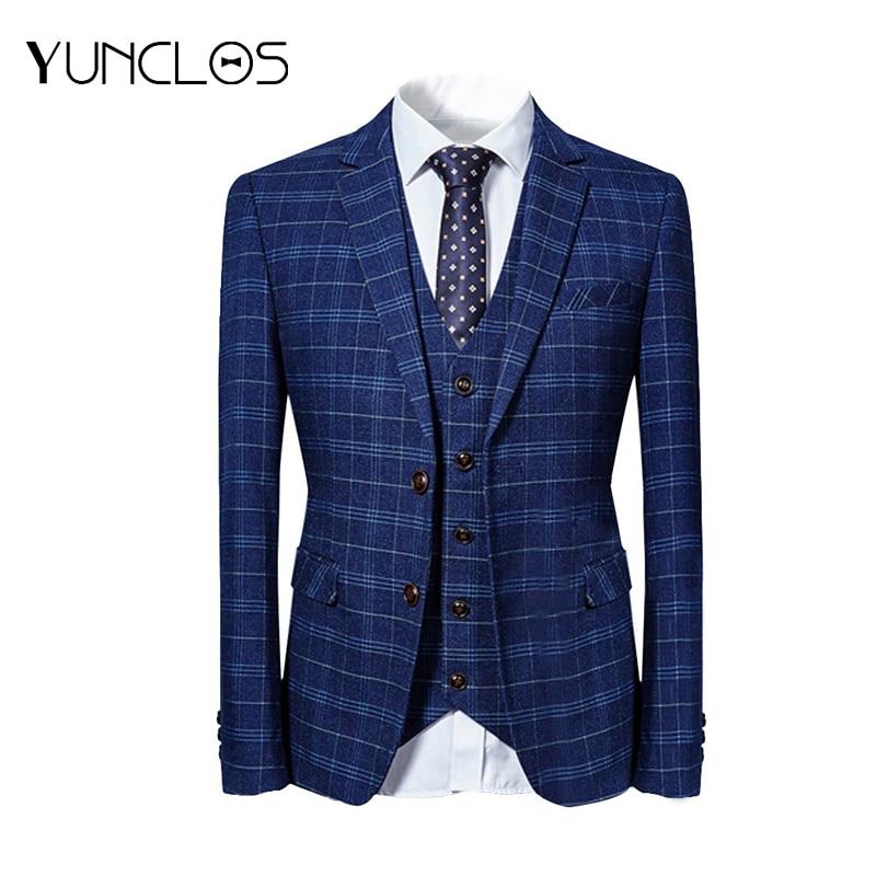 Classic 3 Pieces Suit  Business  Men's Suit  Groom  Wedding Party  Casual Slim Blazer
