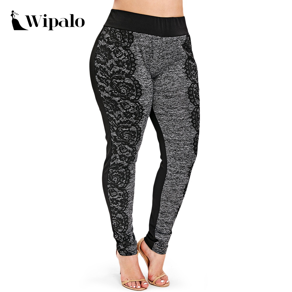 Wipalo Women Plus Size 5XL Space Dye Printed Leggings Casual Marled Skinny Leggings Female Pencil Casual Pants Leggins Mujer