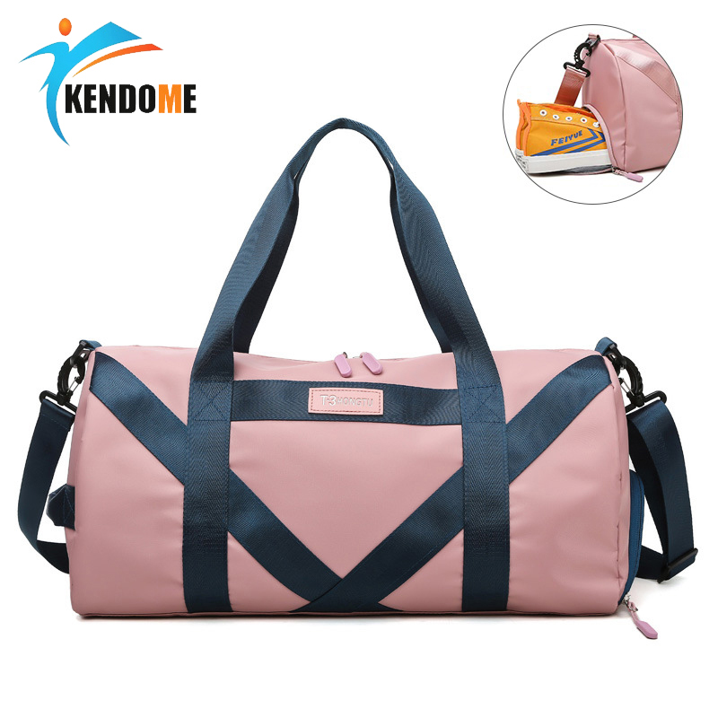 Sports Bag For Women Fitness Men Gym Bag Female Waterproof Yoga Bag One Shoulder Training Bag Round Oxford Handbag Sac De Sport