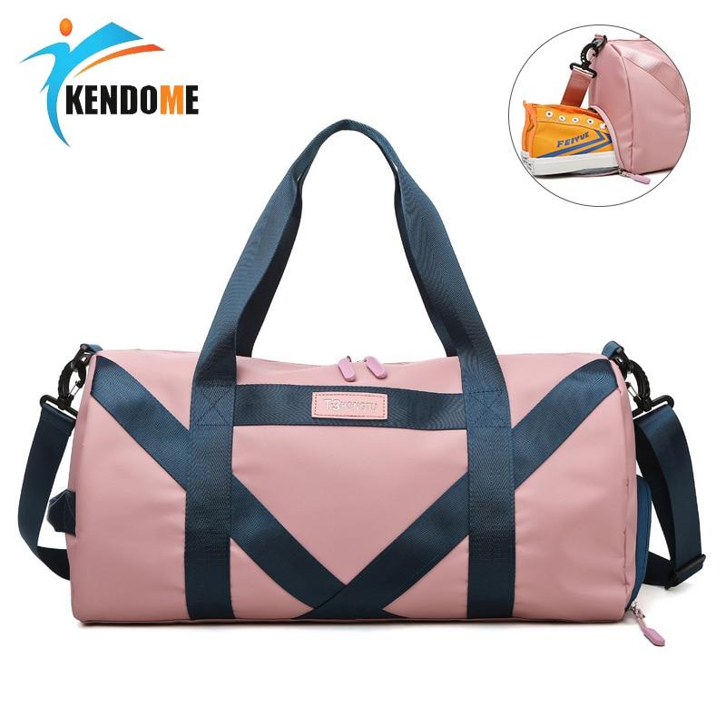 Sports Bag For Women Fitness Men Gym Bag Female Waterproof Yoga Bag One Shoulder Training Bag Round Oxford Handbag Sac De Sport