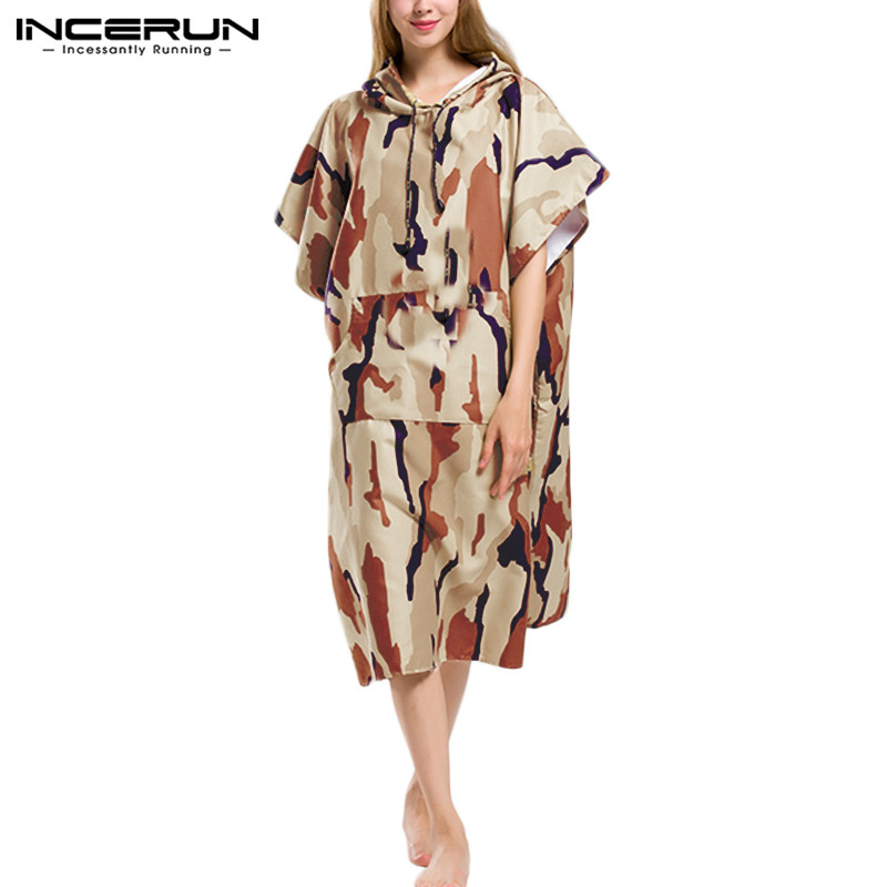 INCERUN Fashion Camouflage Short Sleeve Men Casual Hooded Pullover Poncho Beach Cape Cloak Bath Towel Home Men Bathrobe Hoodies