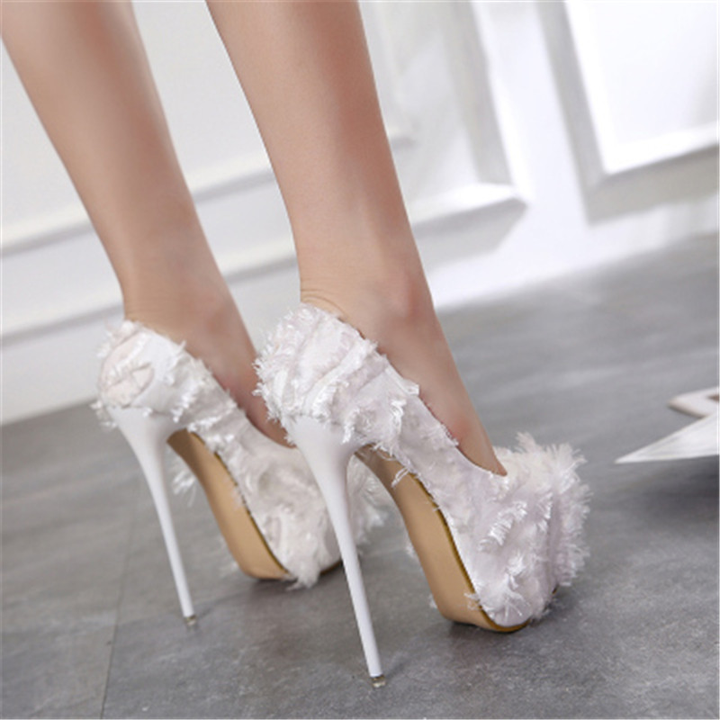 2020 New Spring Summer <font><b>Sexy</b></font> Hairy Round Toe Wedding Woman Pumps Platform <font><b>17cm</b></font> Super <font><b>High</b></font> <font><b>Heels</b></font> Candy Fashion Party Stilettos image