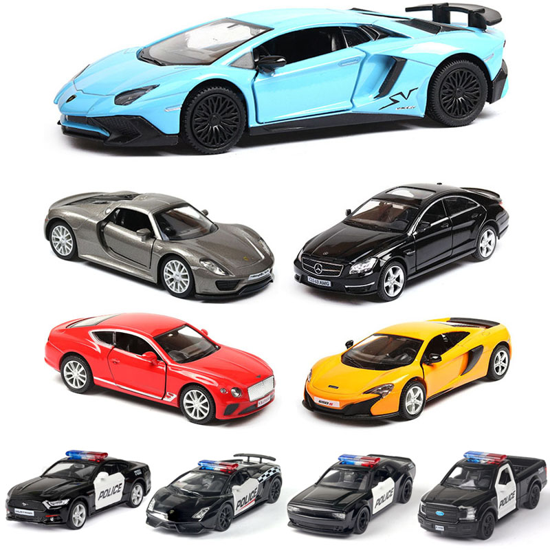 1:36 Lamborghini-Mercedes Mustang Ford Dodge-Porsche Bentley Police-car Die-casting Car Model Kids Toys Pull Back Free Shipping