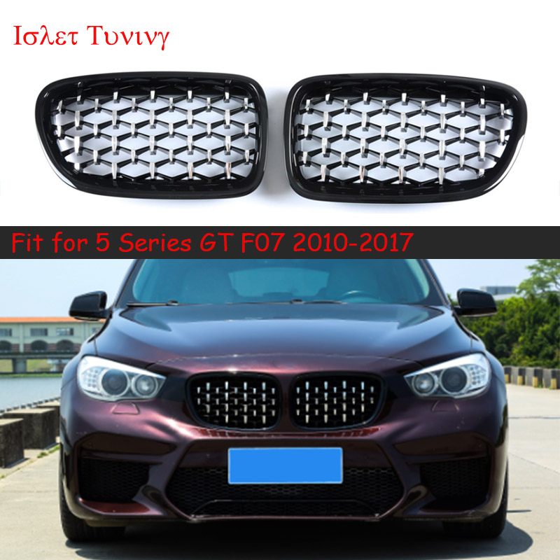 1pair Diamond <font><b>F07</b></font> Grille for <font><b>BMW</b></font> 5 Series <font><b>GT</b></font> <font><b>F07</b></font> Front <font><b>Bumper</b></font> Kidney Grilles 528i 535i 550i 2010-2017 Styling Parts image