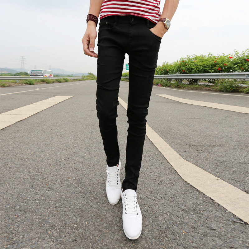 2016 Spring Summer Korean-style Slim Fit Jeans Men Casual Elasticity Skinny Pants Tight-Fit Long Pants Fashion