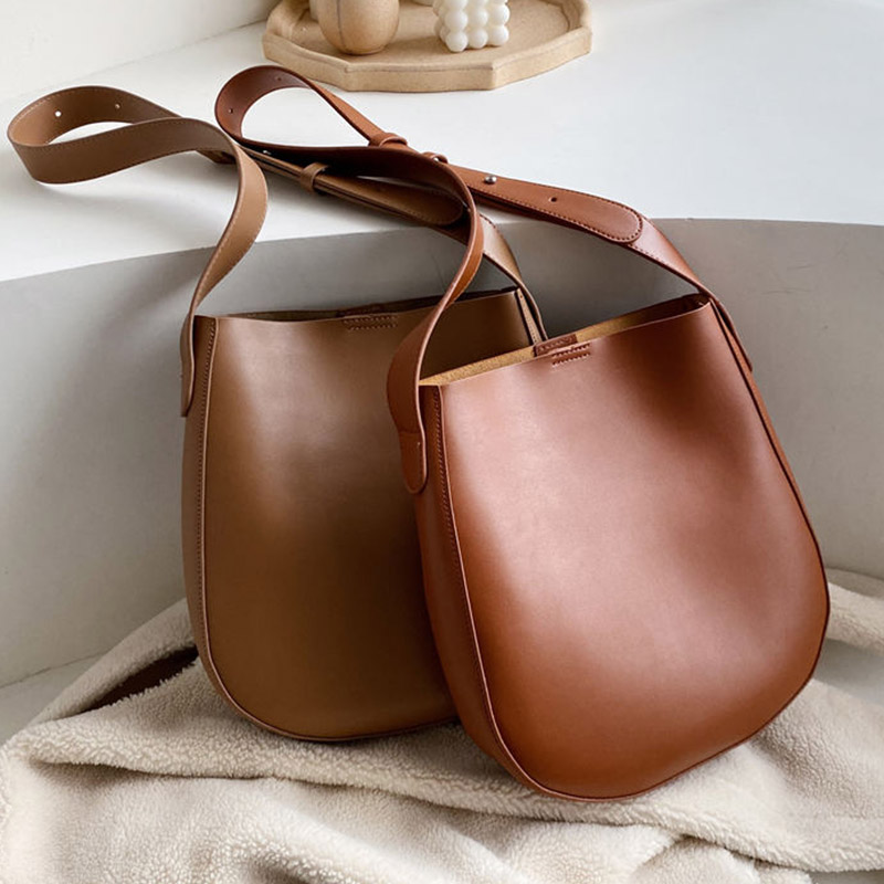 2 Sets Women Bucket Bags Crossbody Bags For Women New Vintage High Quality Leather Messenger Bag Retro Tote Over Shoulder Bag