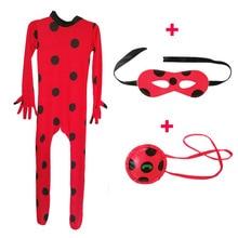 2019 Fantasia Kids Lady Bug Costumes Girls Women Child Spandex Ladybug Costume Jumpsuit Fancy Halloween Cosplay Marinette Wig