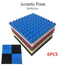 6 pces 50x50x5cm estúdio espuma acústica à prova de som espuma absorção de som painel de tratamento de som cunha protetora esponja
