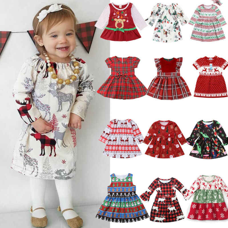 Toddler Kids Baby Girls Princess Christmas Deer Party Dress Outfits Clothes 1-6T