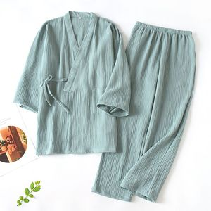 Image 2 - New Japanese Pajamas Set Women Full Cotton Kimono Tops&Pants Suit Couples Sleepwear Set Women Men Casual Homewear