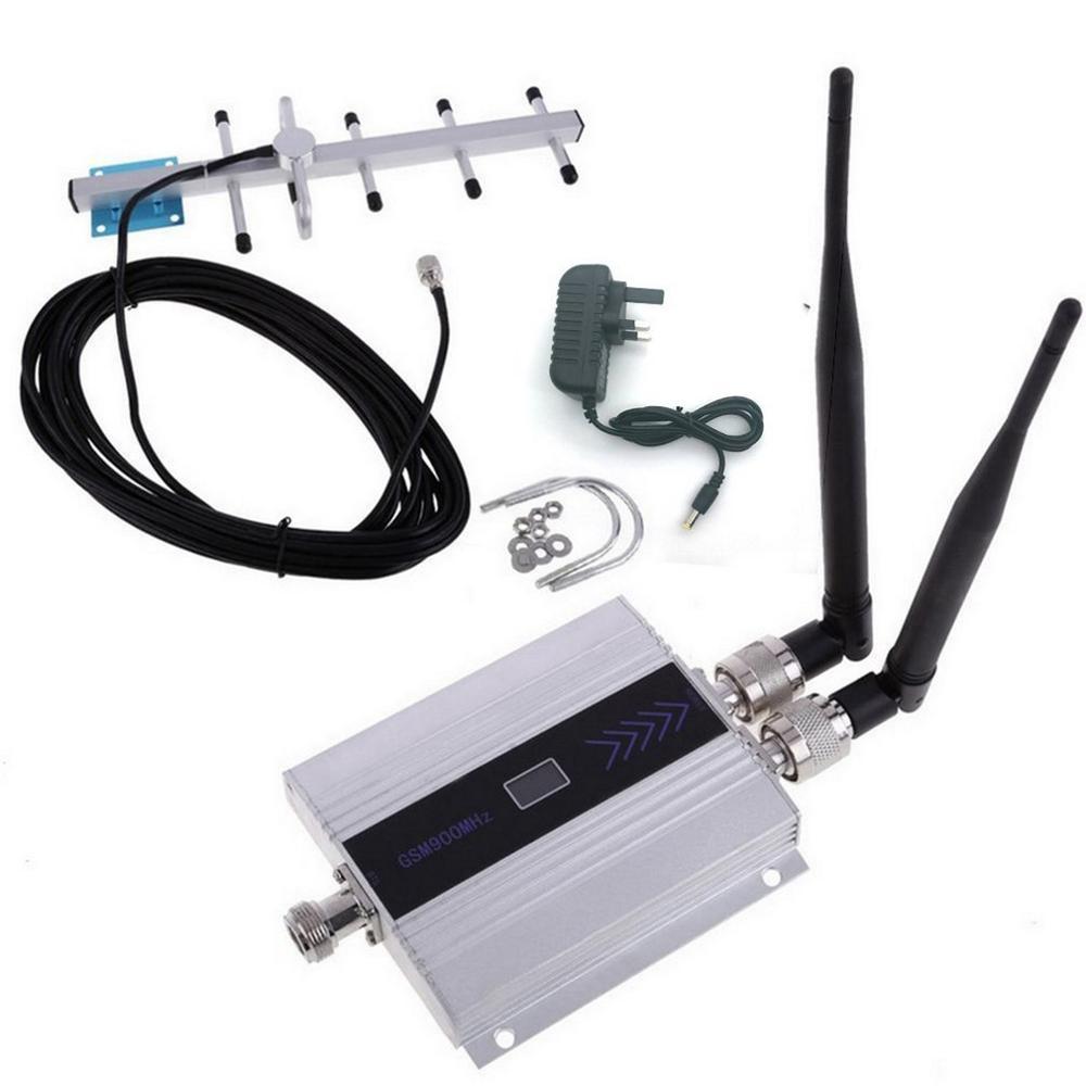 Amplificador amplificador repetidor de señal para teléfono móvil LCD GSM 900Mhz + amplificador repetidor de señal para teléfono Yagi antena UK
