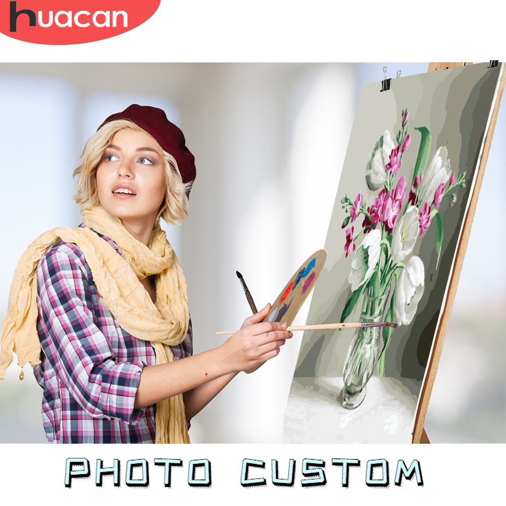HUACAN Coloring By Number Photo Custom Oil Painting By Numbers Paint Pictures Drawing Canvas Children Family DIY Gift Home Decor