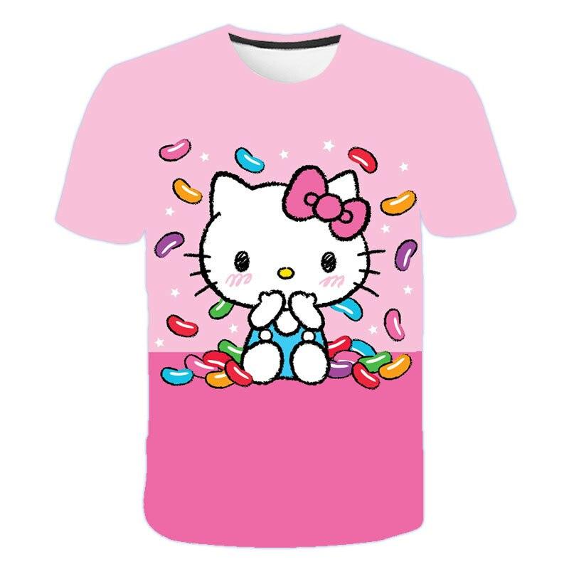 2021 Summer Fashion Anime Boy Girl T-Shirt Cute Pink Dol lHELLO Cat 3D Printing Casual Harajuku Style Short-Sleeved T-Shirt