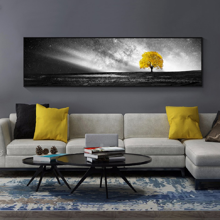Nordic Long Yellow Tree Canvas Prints Posters Black White Scene Wall Art Landscape Canvas Paintings For Living Room Home Decor Painting Calligraphy Aliexpress