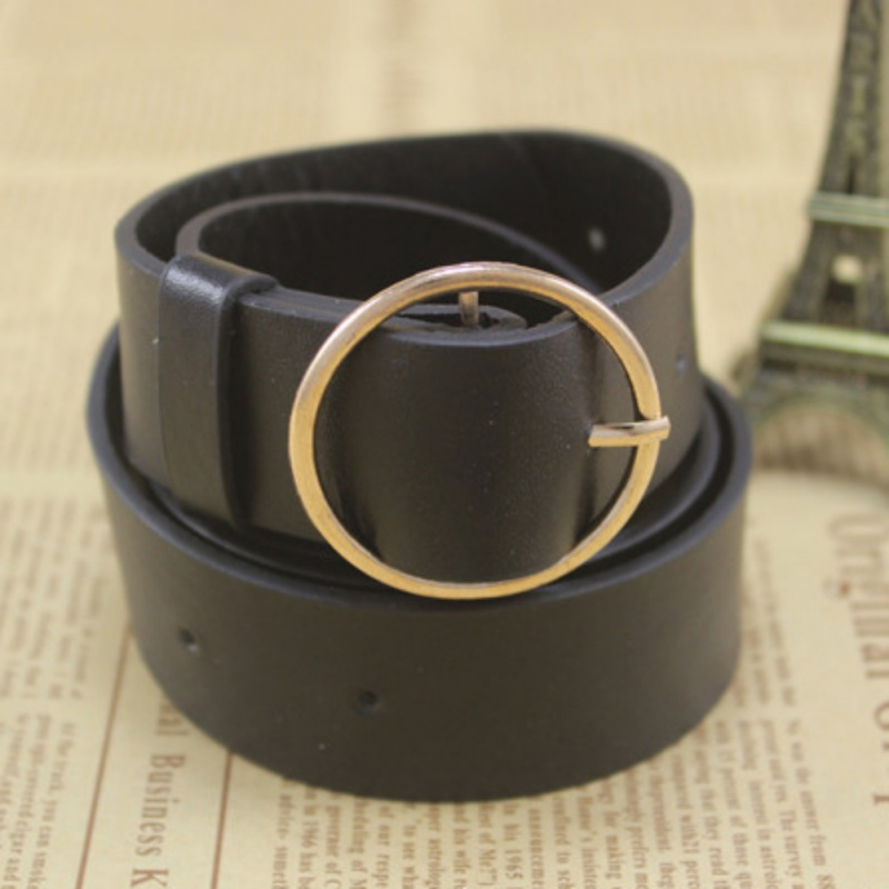 Casual Women   Belt   Solid Round Shape Buckle Waist   Belts   For Women Casual Leather   Belt   Simple Women Strap Brand Classic   Belt
