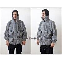 XS 6XL Oversized Sherpa Polar Fleece Anorak Jacket / Tactical Front Pockets Hoodie Warm Sherling Hoodie Winter / Adjustable Hood
