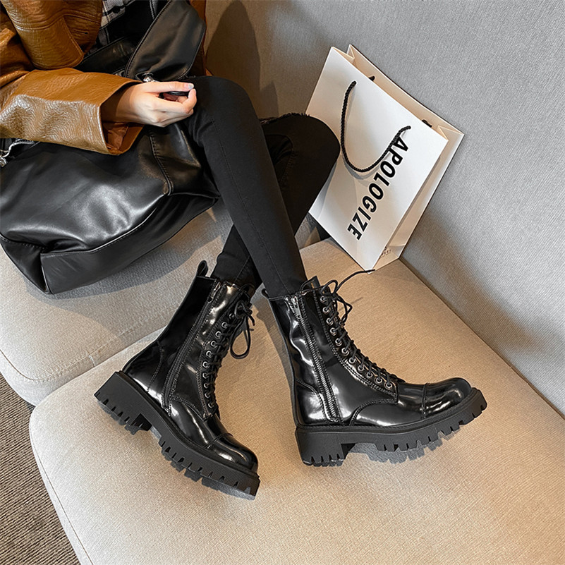 Meotina Real Leather Platform Mid Heel Motorcycle Boots Women Shoes Lace Up Zip Block Heels Mid Calf Boots Autumn Black Size 40