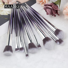 Maange 10 Buah Kuas Makeup Set Make Up Foundation Bubuk Eyeshadow Kit Kontur Sikat Set Kosmetik Makeup Alat Baru(China)