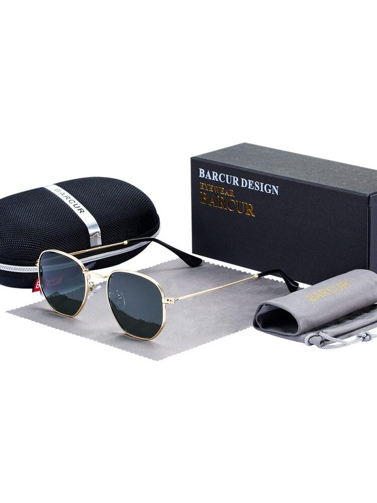 BARCUR Reflective Sunglasses Metal-Frame Classic Retro Eyewear Man with Box Oculos-De-Sol