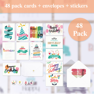 48pcs Birthday Cards Pack Set Lots With 48pcs Envelopes 48pcs Stickers For Families Birthday Friends Kids Men Women Party Favors
