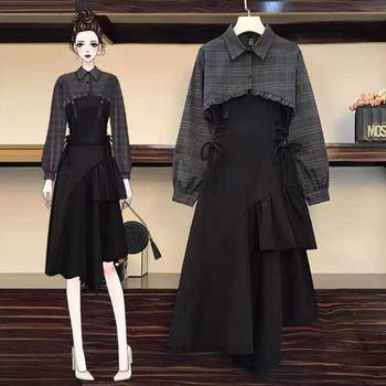 Fashion spring new 2021 large women clothing temperament age reducing shirt show thin versatile dress two piece set women 1