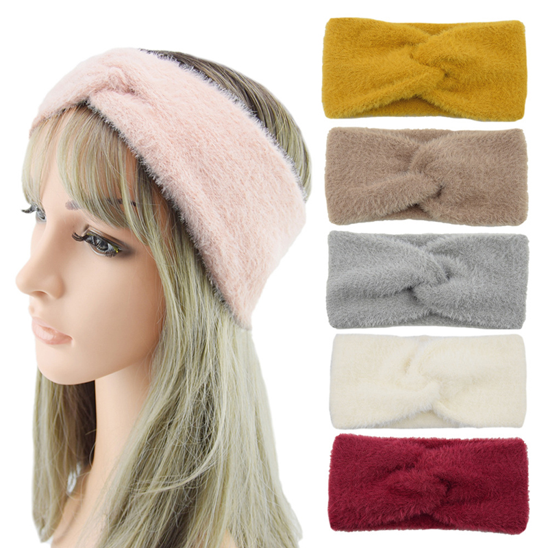 Handmade Knot Fluffy Headbands Autumn Winter Imitation Mink Cashmere Solid Bow Hairbands Simple Warm Women's Headband
