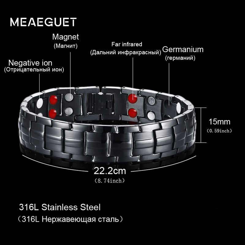 Meaeguet Tow Row 4 Health Elements Energy Bracelet Jewelry For Men Black Stainless Steel Chain Link Magnet Therapy Bracelets