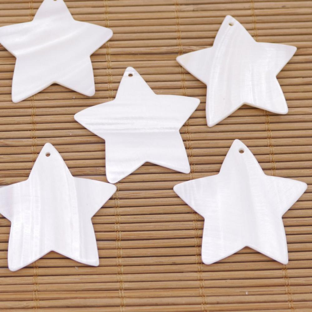 Купить с кэшбэком 10 PCS Star Shell Natural White Mother of Pearl Loose Beads Jewelry Making 18mm 22mm 40mm