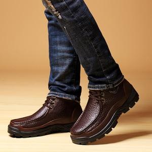 Image 2 - جلد طبيعي أحذية رجالي الفراء حذاء من الجلد الأعمال أحذية الشتاء الدافئة الثلوج رجالي التمهيد الدانتيل يصل أحذية عمل الذكور أفخم walkertop