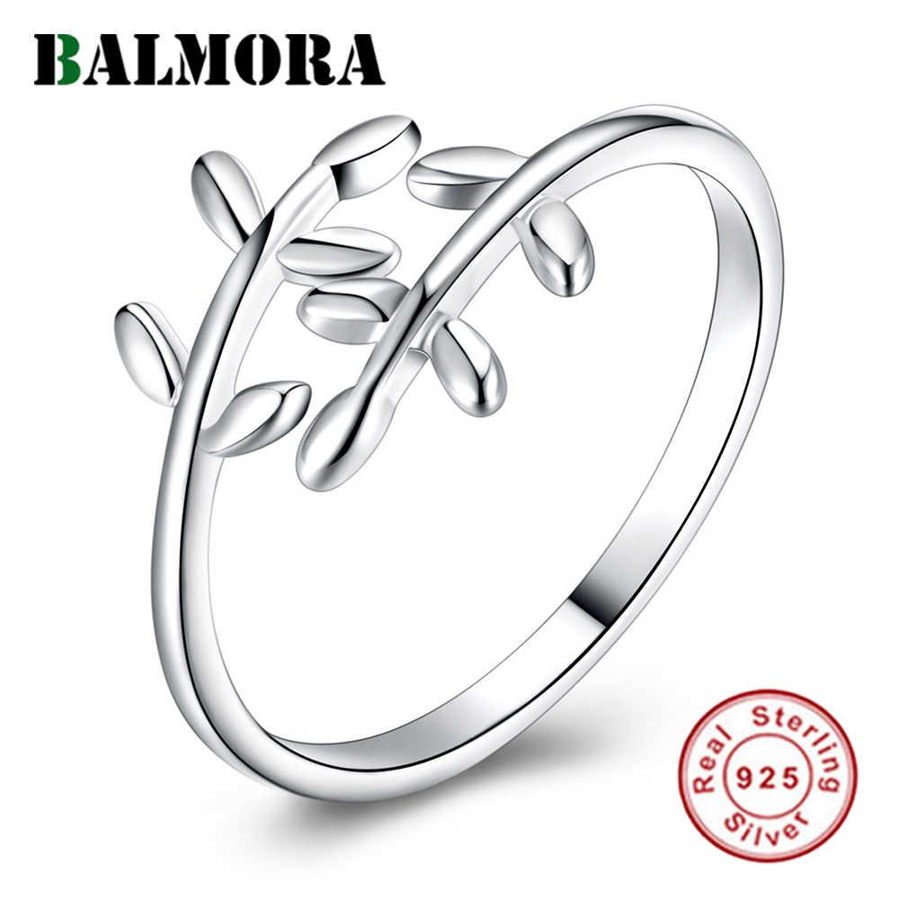 BALMORA 100% ريال 925 أقراط متدلية على شكل ورق سترلينج الفضي المفتوحة خواتم للنساء بنات حفلة هدية عالية الجودة لطيف مجوهرات الأزياء Anillos