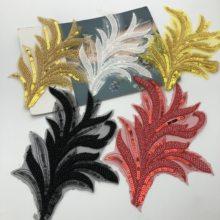 5pcs Beaded Flower Lace Applique Sewing Bridal Wedding Trims Motif Embroidery 18cm*22cm