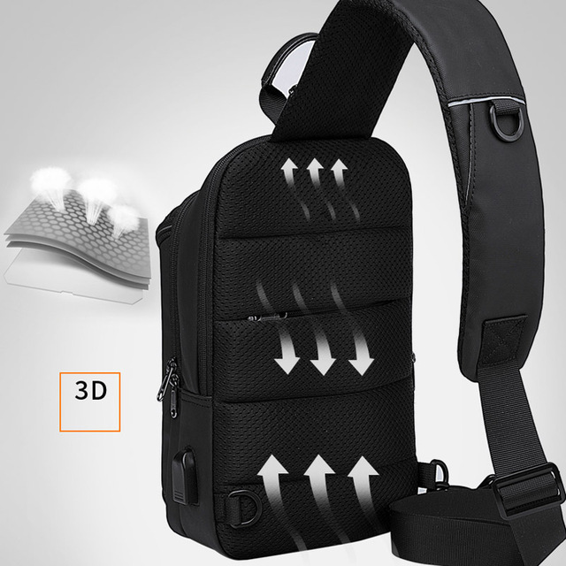 Bange New Multifunction USB Recharge Crossbody Bag for Men Shoulder Messenger Bags Male Waterproof Short Trip Chest Bag Pack 5