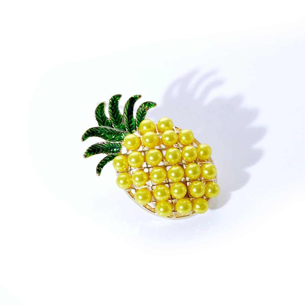クリエイティブかわいいパイナップルの形のブローチ女性のための光沢のある素敵なフルーツピンジュエリー高品質ブローチパーティーギフトのため