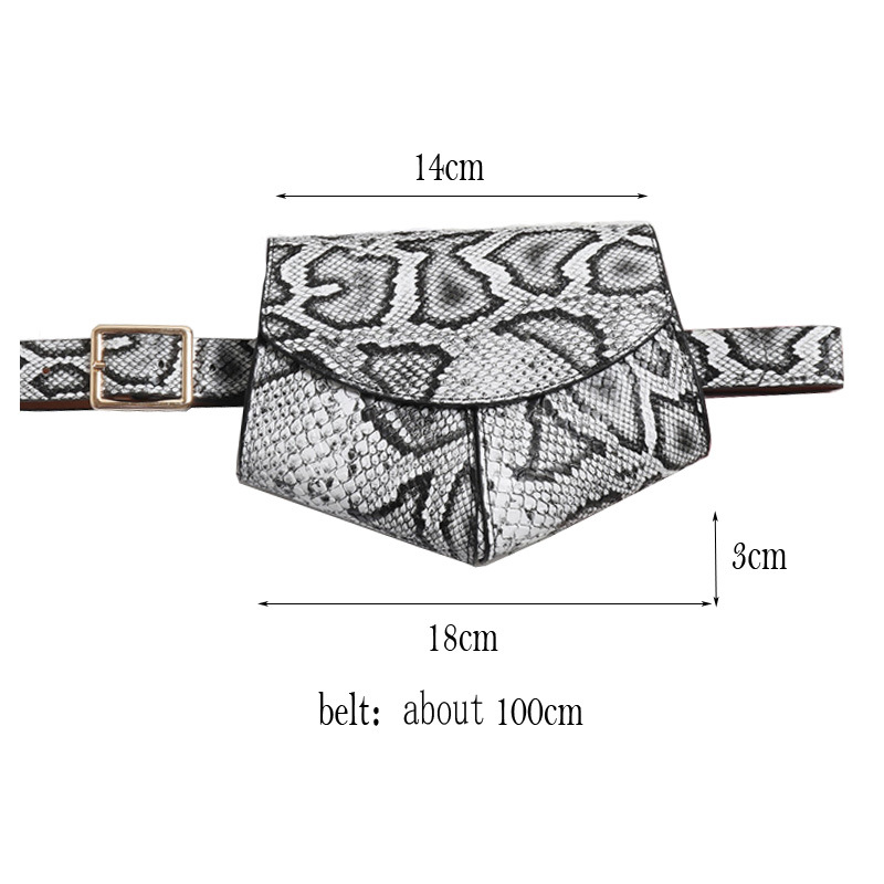 2019 New Fanny Pack Women Waist Belt Bag Serpentine Vintage Bags Girl Fashion Phone Leather Chest