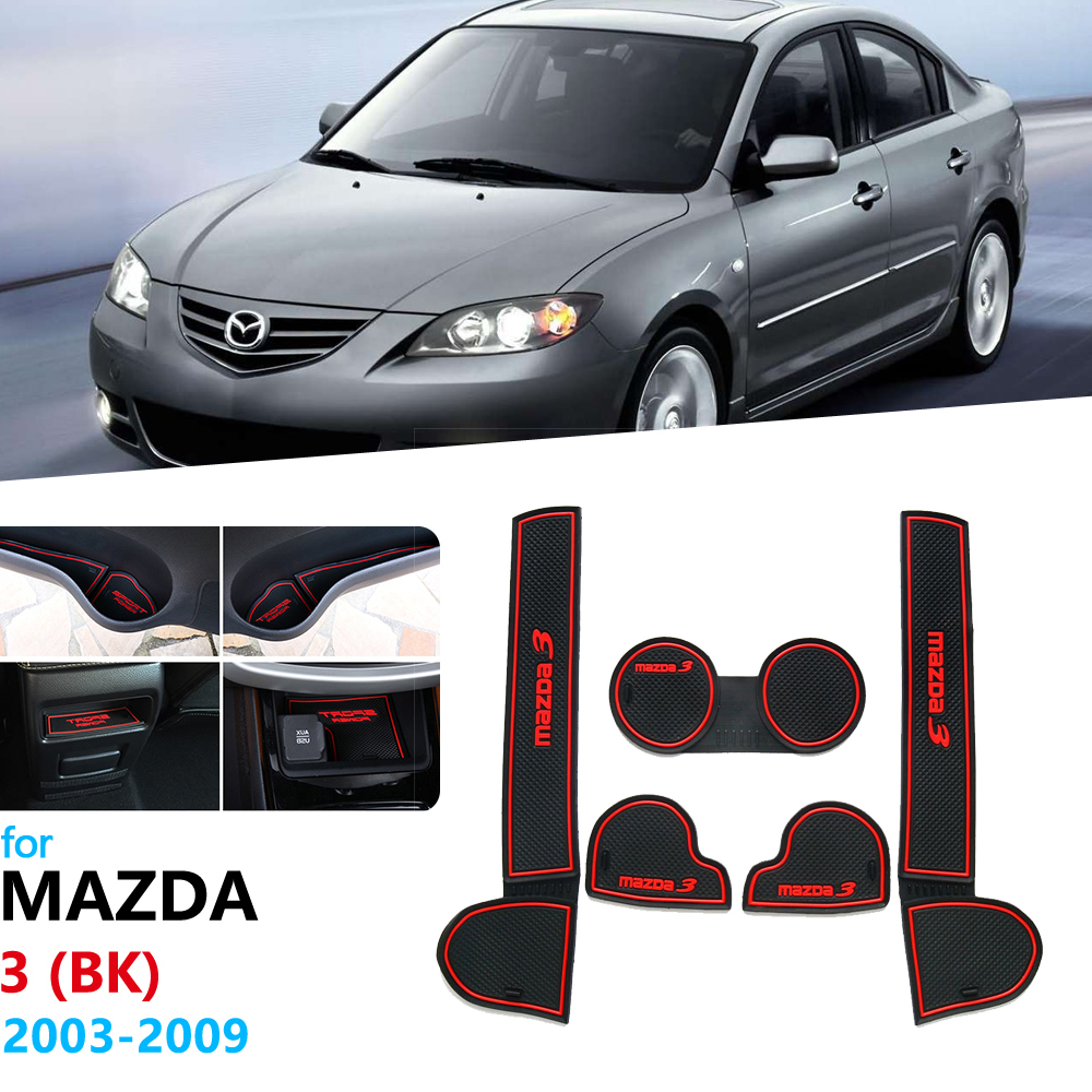 Anti-Slip Rubber Gate Slot Cup Mat For Mazda 3 BK 2003 2004 2005 2006 <font><b>2007</b></font> 2008 2009 MK1 <font><b>Mazda3</b></font> MPS Door Groove Mat Coaster image