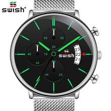 SWISH New Arrival Men Chronograph Wrist Watch Stainless Stee