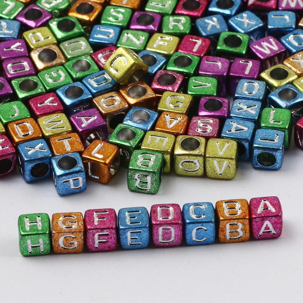 Akrilik rastgele mektubu boncuk renkli alfabe kare dağınık boncuklar için DIY çocuk bilezik kolye el yapımı boncuk aksesuarları