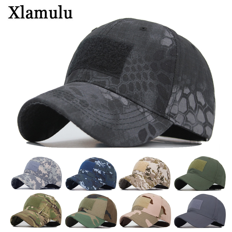 Xlamulu  Snapback Camouflage Tactical Hat Men Patch Army Tactical Baseball Cap Unisex Camo Hat Baseball Caps Outdoor Camo Hats