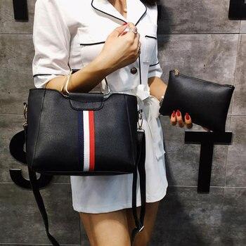 2PCS Women's Bag Set Fashion PU Leather Girls Handbag Rainbow Messenger Bag DropShipping Bolosa Mujer Shoulder Bag Clutch Wallet