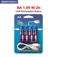 NEW 1.5V USB AA rechargeable battery 1300mWh NI ZN battery for remote control mouse small fan Electric toy battery + Cable