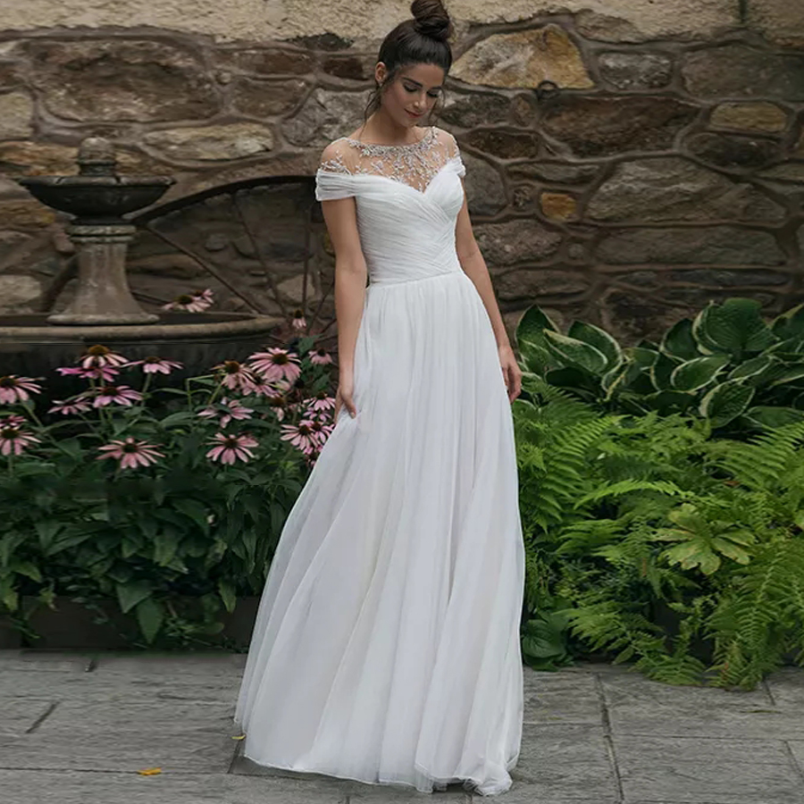 Scoop Neckline Short Sleeve Pleat Tulle A-line Wedding Dress With Lace Applique Illusion Tulle No Train Bridal