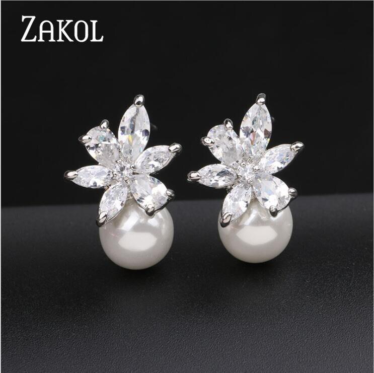 ZAKOL Fashion Cute Exquisite Flower Stud Pearl Crystal Earings White AAA Zircon For Women Jewelry Wedding Party Gifts FSEL859