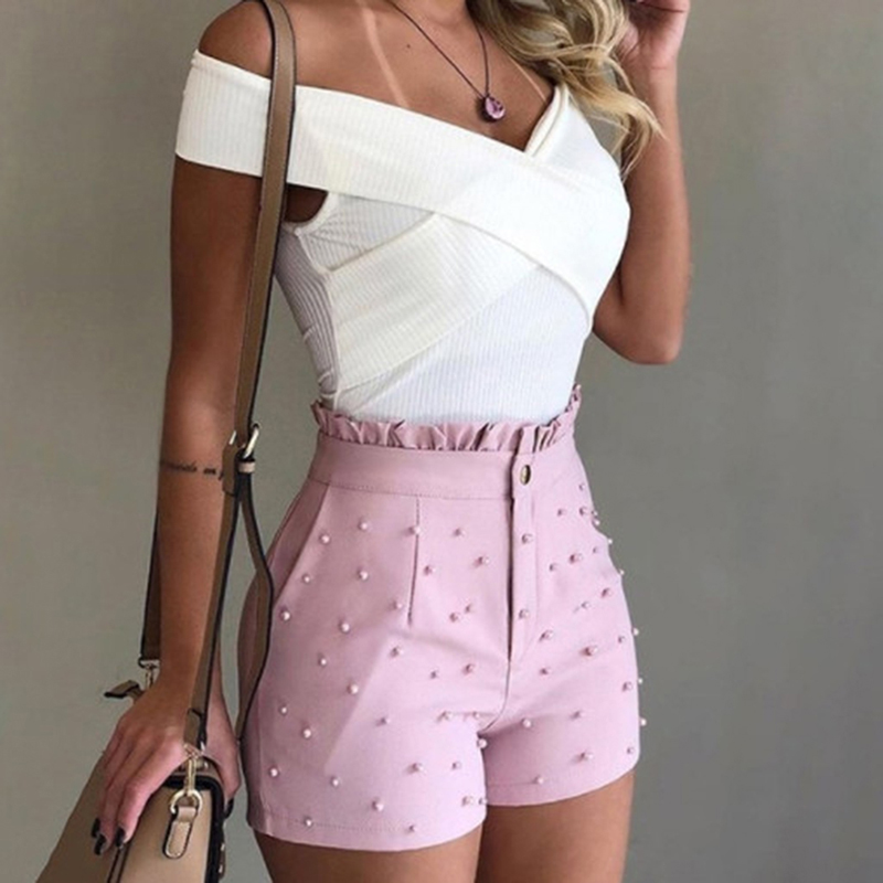 Women's Cute Soild Color Shorts Pearl Decoration High Ruffles Waist Female Caual Summer Ladies Shorts With Pocket For Women