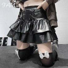 Cascading Ruffle Leather A Line Mini Skirt Women Dark Academia High Waist Skirt Gothic Pleated Ball Gown Skirt Party Iamhotty