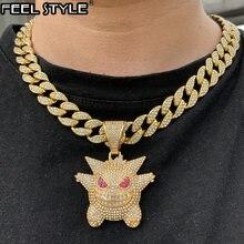 Кулон и ожерелье в стиле хип хоп из металлического сплава золотого