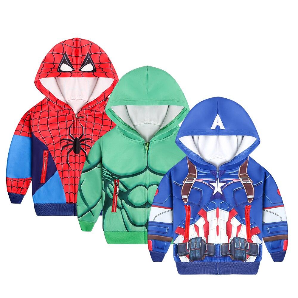 Kids Boys Toddlers Superhero Spiderman Hooded Zipper Sweatshirt Hoodies Jacket