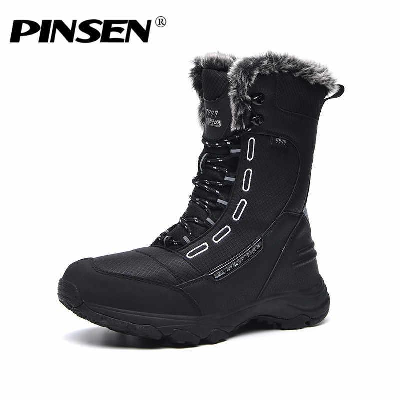 PINSEN 2020 yüksek kaliteli bayan botları açık sıcak tutmak kış kar botları kadın orta buzağı dantel-up rahat bayan botları