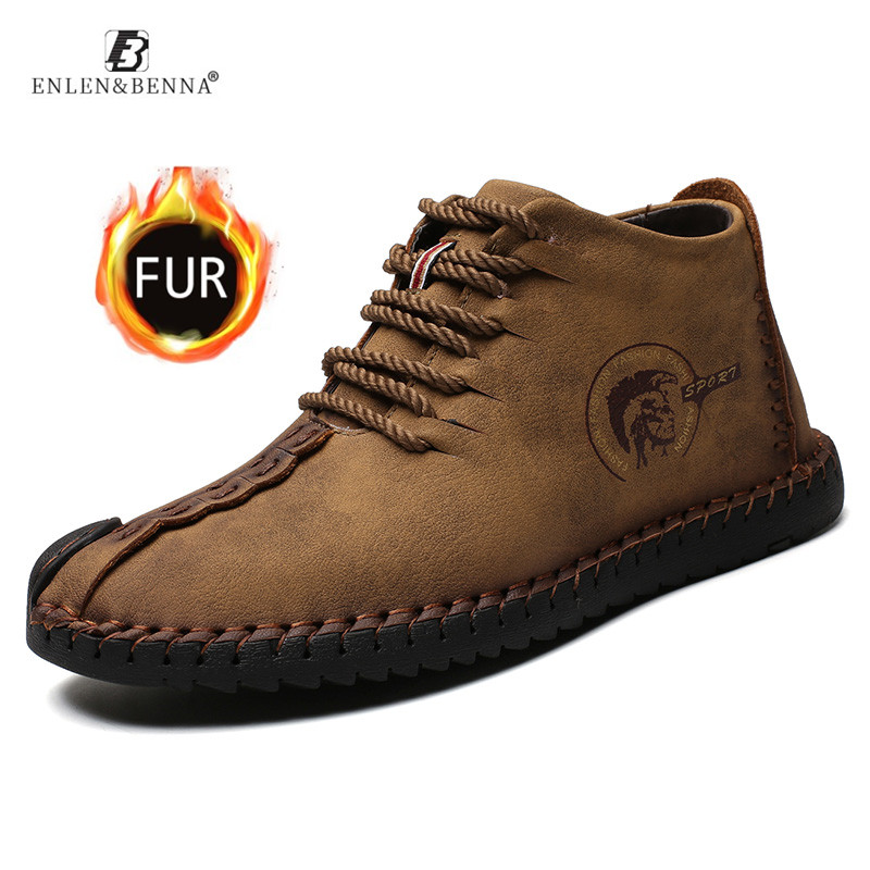 2019 Men Boots Winter Leather High Quality Warm Snow Boots Lace-Up With Fur Lightweight Waterproof Ankle Shoes New Large Size 48