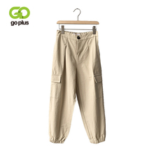 GOPLUS Black Women Cargo Pants 2019 Fashion Pockets Ankle-Length Pants High Waist Loose Korean Hip Hop Joggers Pants C9618